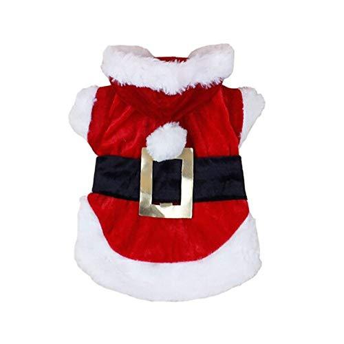 Keepwin Weihnachten Haustier Hund Santa Cosplay Hoodies, Doggy Kostüme Bekleidung (L, Rot)