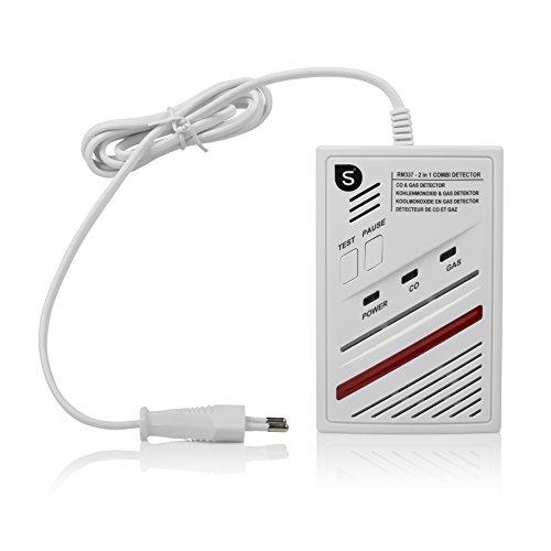 Detector de Gas y monóxido de Carbono Smartwares RM337 – 2 en 1 – Sensor con una Vida de 5 años – 85dB