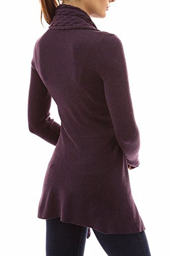 Le Donne In Autunno A Base Aperta Davanti A Maniche Lunghe Cardigan Maglione Taglia Purple