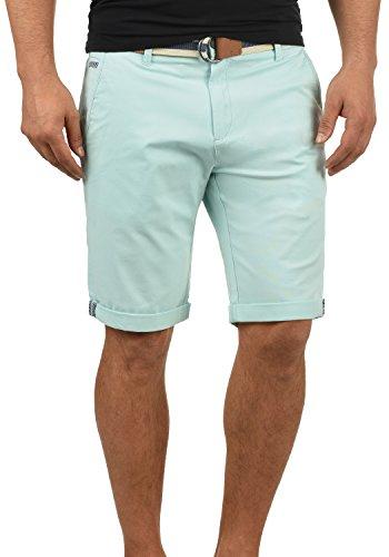 !Solid Monty Chino Pantalón Corto Bermuda Pantalones De Tela para Hombre con Cinturón Elástico Regular-Fit, tamaño:M, Color:Blue Glow (1252)