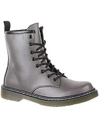Elara Damen Biker Boots   Trendige Kurzschaft Stiefeletten   Schnallen  Nieten 8ddb1ad119