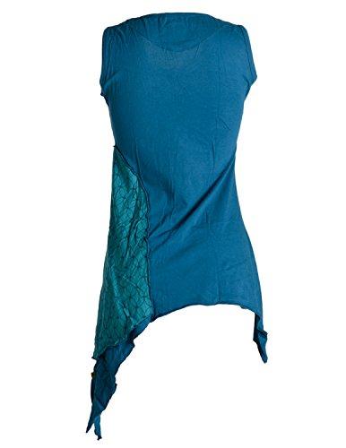 Vishes - Alternative Bekleidung – Asymmetrische, zipfelige Elfentunika, Minikleid aus Baumwolle Türkis