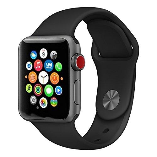 MMOBIEL Uhrenarmband Schwarz (42 mm - M/L) Soft Silikon Armband Band Ersatz für Alle Apple Watch Serien
