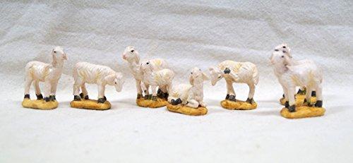Unbekannt Pecore sconosciute con Zoccolo, 7 Pezzi, per Personaggi da 7-9 cm, Altezza ca. 4 cm