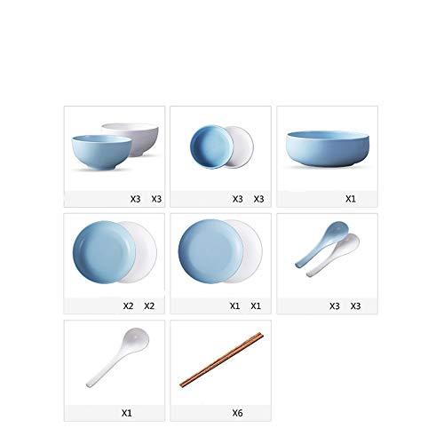 ZGCP Geschirr Geschirr Set Haushaltskeramik Schüsseln Teller Kombination einfach Bone China Geschirr (blau und weiß gemischt) 32 Kopf Geschirr - China Teller, Quadratische Weiße