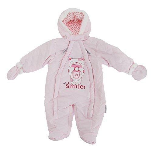Baby Schneeanzug mit Kapuze, Teddy Bär, Smile (0-3 Monate (50-56)) (Pink)
