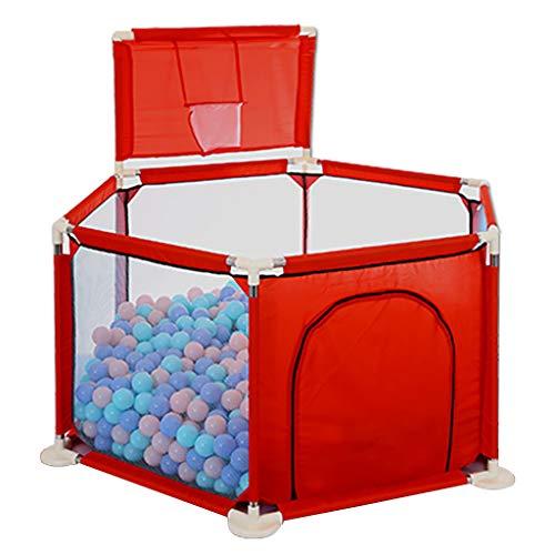 WYQ Laufgitter Baby Zaun Spielplatz Set Set Baby Laufstall, Mini-Basketballkorb Safety Play Yard für Babys und Kinder (blau, rot) Laufstall (Farbe : Red, größe : 140 × 70 x 66.5cm)