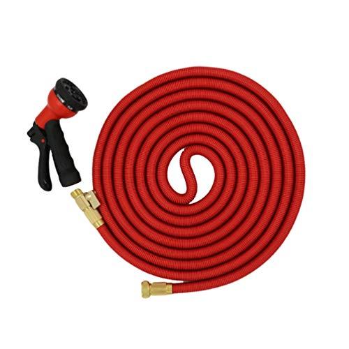 Dooxii Flexibler Gartenschlauch Ausdehnbar Magic Schlauch Zubehör Teleskop-Waschschlauch Wasserpistole Set (Rot#1, 30m)
