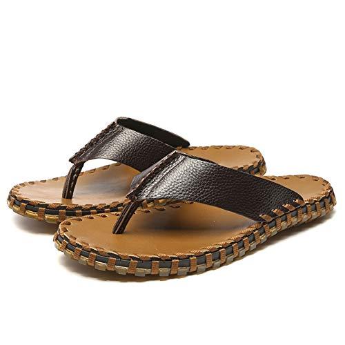 DierCosy Herren Leder Flip Flops Leichte Thong Hausschuhe Sommer Klippzehe Schuhe Outdoor-T-Bügel-Slipper Thong Schuhe