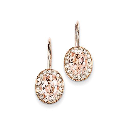 14K Rose Gold Morganit & Diamant Ohrring/DIAMANT ctw. 0,18, Gem ctw. 2,28 (Rose Gold Morganit Ohrringe)