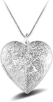 Heart Photo Locket Necklace With Exquisite Carving - Silver Plated - Birthday Valentine's