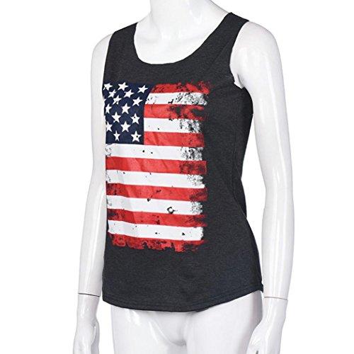 Ouneed® Femme Ete Tshirt Drapeau Americain Debareurs Gris fonce