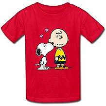 Cute Snoopy Charlie marrón niño camiseta azul eléctrico