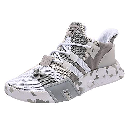 Yvelands Herren Sneaker Männer Jungen Freizeitschuhe Sport Laufen Atmungsaktive Flache Camouflage Schnürschuhe(41,Weiß)
