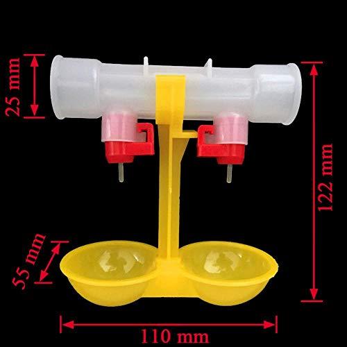 Qindoo Set 100 Pollo abbeveratoio Palla appesa Tazza Pollo da Bere Mangime per pollame Mangime per Animali Tubi Gialli da 25mm -Yellow, M
