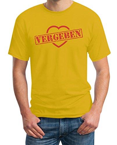 Vergeben Stempel auf Herz - Design für Verliebte T-Shirt Gelb