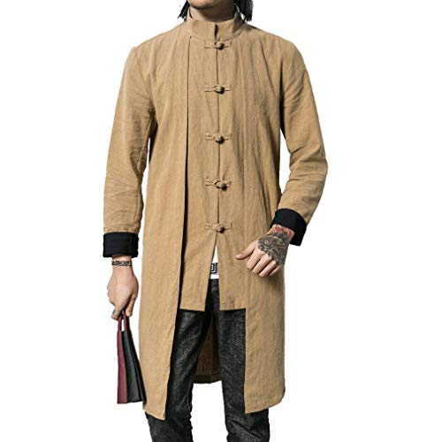 Betrothales Herren Jacke Langarm Mode Herbstjacke Lang Bomberjacke Unifarben Mantel Jacken Stehkragen Chinesische Art Outdoorjacke Coat...