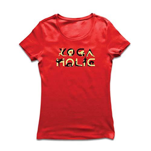 lepni.me Frauen T-Shirt Yoga Holic, Positive Vibrationen, motivierende Workout-Zitate, Yogi-Liebhaber-Geschenk (XX-Large Rot Mehrfarben)