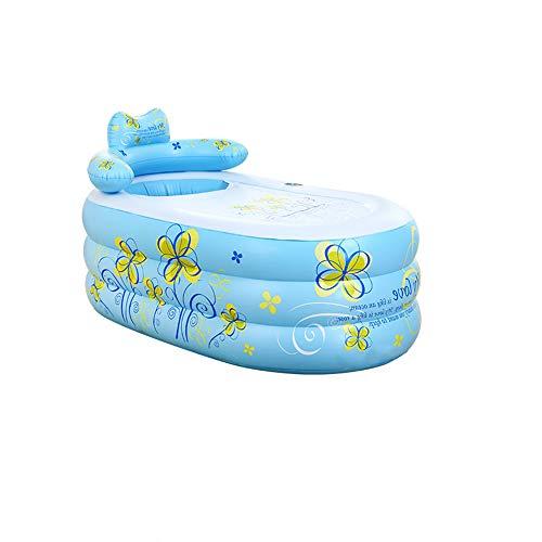 CKR Tragbarer Erwachsene Spa PVC Folding Badewanne Inflatable Bad Ttub Pool Kinder Aufblasbare Pool-Handpumpe,Blau