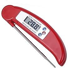 Los Termómetros de Alimentos,Termómetros Digitales Vicloon [Reproducción Instantánea Segundos 4-7] LCD Anti-corrosión de la Sonda con el Acero Inoxidable para Barbacoa Barbacoas Inicio Cocina Cuidado Rojo