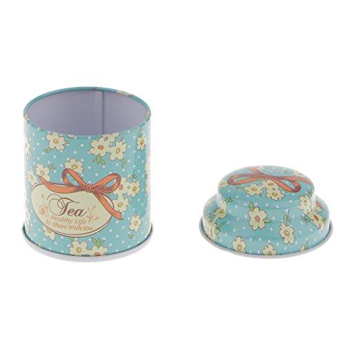 MagiDeal Vintage Blume Rund Kaffeedose Vorratsdosen Teedose Aufbewahrungsbox aus Weißblech - Blume...