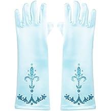 Katara - Guanti da travestimento da principessa Disney Elsa regina delle nevi Frozen, accessori Elsa Taglia unica per bambine da 2-9 anni, colore azzurro