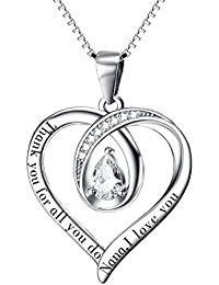 Gifts for Mum Necklace Mum Gifts Birthday Gifts for Mum Silver Necklace Mum Necklace I Love You Mum Thank You for All You Do Heart Necklace for Nana