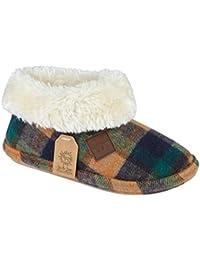 2ce9e5eacfea Ladies Chiltern Jo   Joe Faux Suede Sheepskin Fur Collar Fleece Lined  Bootee Slippers Size 3