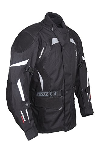 ROLEFF RACEWEAR RO594 lange Textil Motorradjacke mit Nubukleder und Protektoren, schwarz, Größe M
