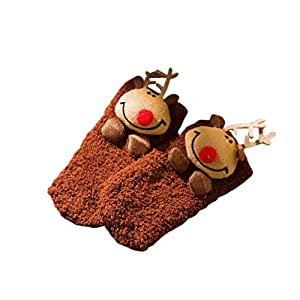 Amosfun Weihnachten Winter weich warm dick kalt Stricken Wolle Crew Socken Flauschigen Strumpf für Baby Kind (Elch braun)