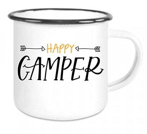 crealuxe Emaille Tasse mit Rand Happy Camper - Kaffeetasse mit Motiv, Campingtasse Bedruckte Email-Tasse mit Sprüchen Oder Bildern - Camper Happy Becher