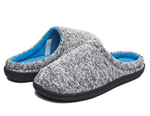 Haus Slipper für Männer Memory Foam Home Slipper Indoor Outdoor Winter warme Baumwolle Schuhe Charcoal Grey Größe 9 - L