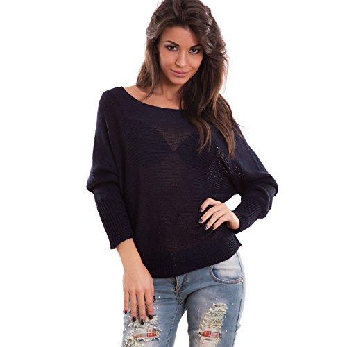 Toocool - Maglione donna pullover maniche pipistrello maglioncino tricot nuovo AS-2031-1 Blu scuro