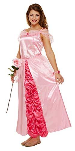 Kostüm Storybook Belle - Emmas Garderobe Rosa Prinzessin-Kleid-Kostüm - Mit Langen rosa Kleid und Rose Armband - Frauen-Märchen Halloween-Kostüm - Made UK Größen 8-16 (Women: 38, Pink)
