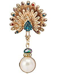 Knighthood Dancing Peacock With Hanging Pearl Lapel Pin