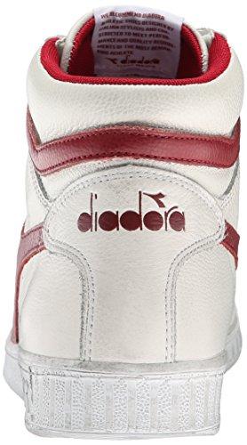 Diadora Game L High Waxed, Pompes à plateforme plate mixte adulte Blanc Cassé (Bianco/rosso Peperone)