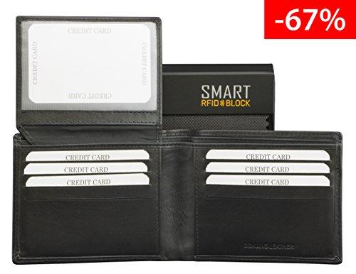 SMART RFID BLOCK Kartenhalter - hochwertiger, Vintage schwarzes Leder - RFID-geschützt - Etui Geldbörse - Geschenkverpackung - TÜV-geprüft - bei KORUMA - (SM-903PBL) (Große Akzentuiert Handtasche)