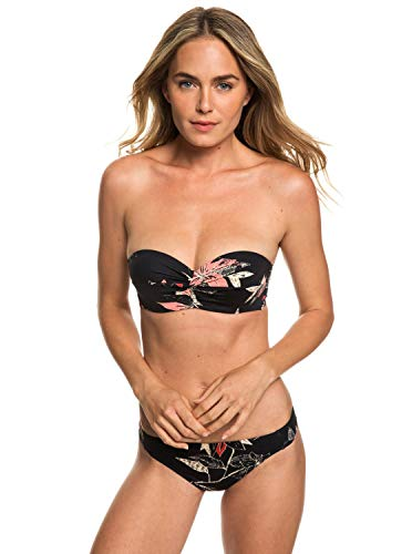 Roxy Damen VL Regular Bandeau Two Piece Bikini, Anthracite flowee Swim, M