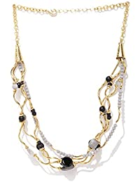 Thingalicious Gold Plated Multi Layered Twisted Grey Onyx Necklace for Women