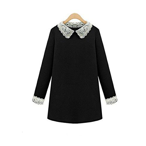 COCO clothing Damen Rundhals Langarm Herbst-Winter Bluse Kleid BeiläufigeSchwarz Frauen A-Line Basic Tunika Minikleid Hemdkleid mit Peter Pan Kragen (Peter-pan-kragen-bluse)