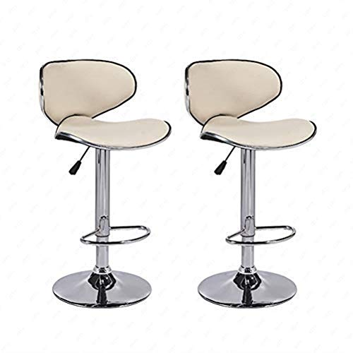Barhocker 2er Set Einstellbar Leder Schwenken Zuhause Küche Möbel (Sahne)