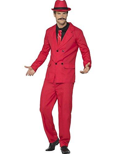 Smiffys Herren Anzug, Jacke mit wattierten Schultern, Eng zulaufende Hose, Hut, Shirt und Krawatte, Größe: L, 44891