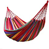 P-Plus International Camping Canvas Portable Garden Hammocks Striped Ultralight Outdoor Beach Swing Bed with Strong Rope (280 x 100 cm, Red)