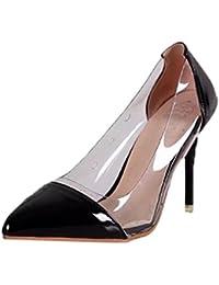 Overdose-Chaussures Escarpins à Talons Sexy Femme, Pointure Large à Talon  Hauts Sandales Transparent 466aa019a06e