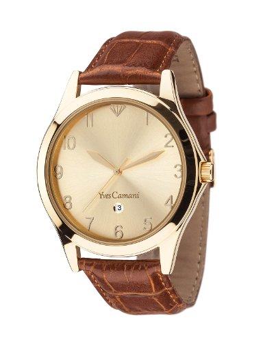 Yves Camani Allier - Reloj de cuarzo para hombres, con correa de cuero de color marrón, esfera dorada