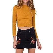 Simplee Apparel Damen Mini Rock Retro High Waist Bleistift Stickerei Denim Kurz Röcke Skirt mit Taschen