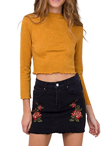 Simplee Apparel Damen Mini Rock Retro High Waist Bleistift Stickerei Denim Kurz Röcke Skirt mit Taschen Schwarz (Tasche Denim Mini-rock)