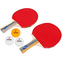 MagiDeal Set de Ping-pong 1 Par de Manijas + Raqueta de Tenis de Tabla + 3 Bolas Accesorio para Principiantes Aficionados de Ping-pong - Azul