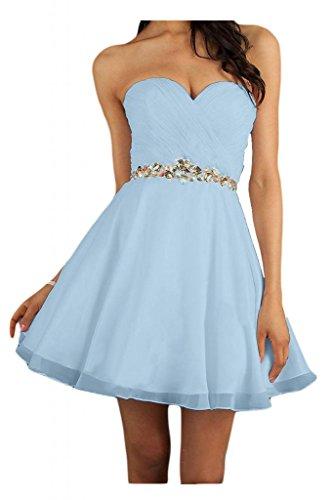 Toscane mariée chic abendkleider forme de cœur court robe de soirée en chiffon à cocktail Bleu - Hell Himmel Blau