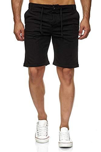 Reslad Leinenhose Kurze Hose Herren Leinen-Shorts lässige Männer Freizeithose Strandhose Stoffhose Sommer-Shorts RS-3002 Schwarz L